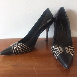 Costanca Basto Black Leather Heels Pumps